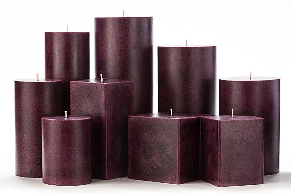 Purple Mottled Pillar Candles