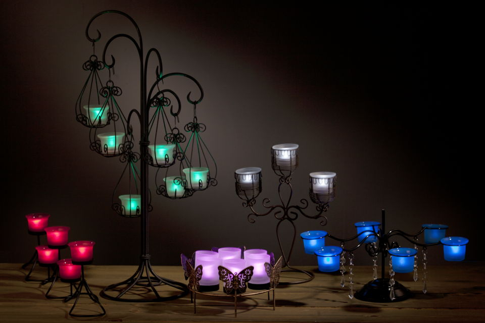 Gallery centerpieces with led tea lights