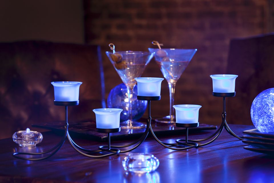 Candelabra centerpiece with blue led lights