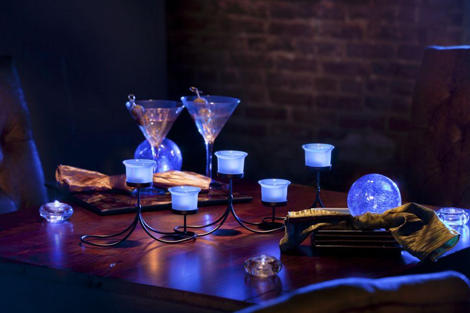 Candelabra centerpiece with blue led lights