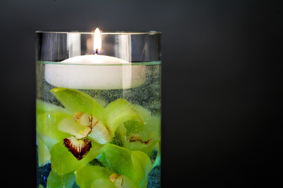 Diy centerpiece with floating candle