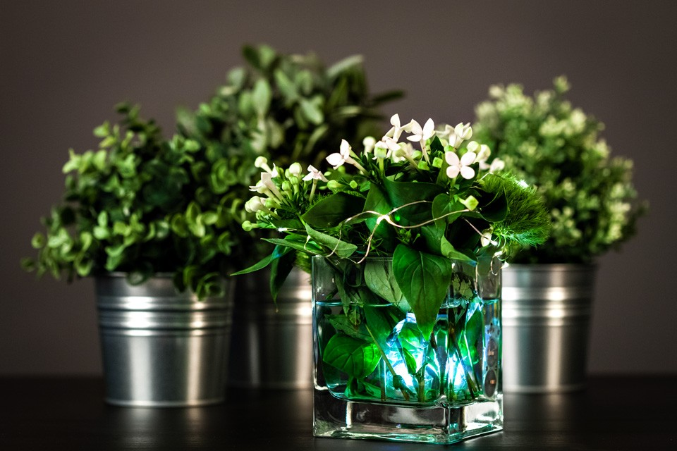 Diy floral centerpiece with led lights
