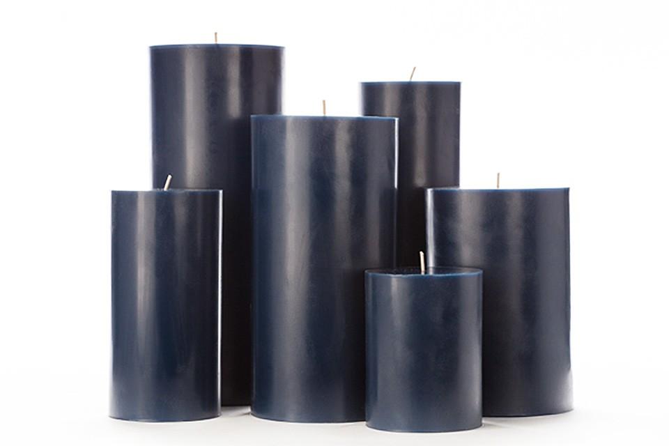 Large Blue Pillar Candles