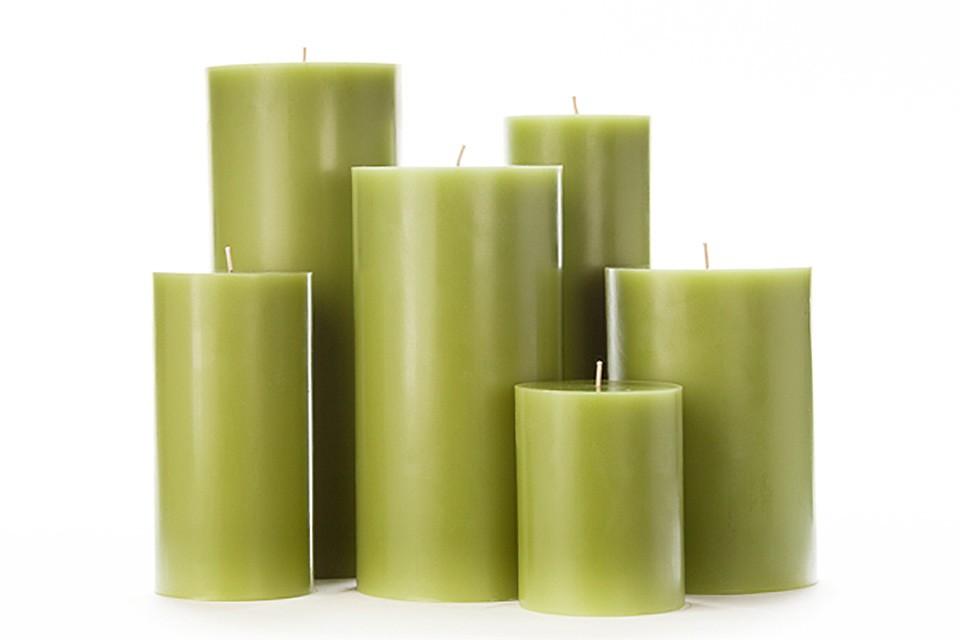 Large Green Pillar Candles
