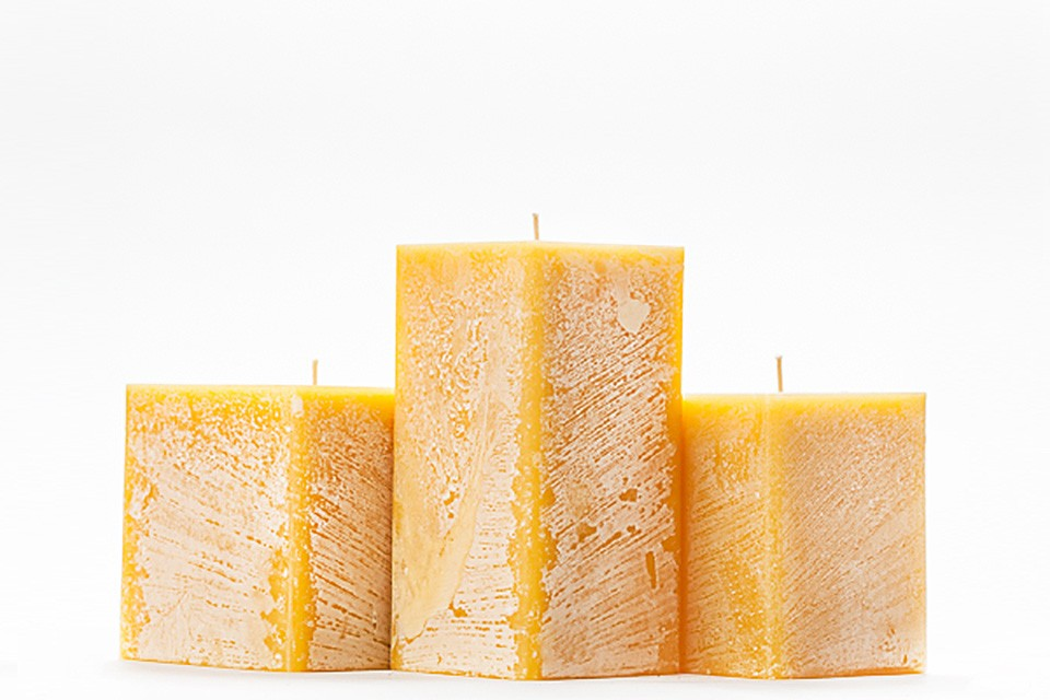 Yellow Frosted Pillar Candles