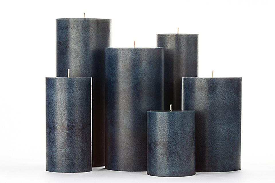 Blue Mottled Pillar Candles