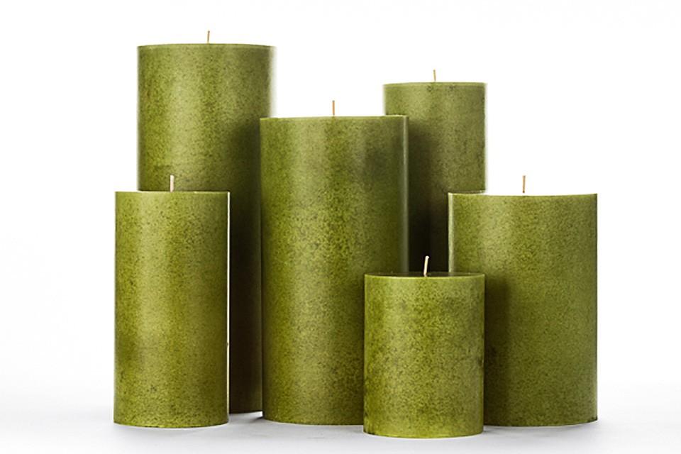 Green Mottled Pillar Candles