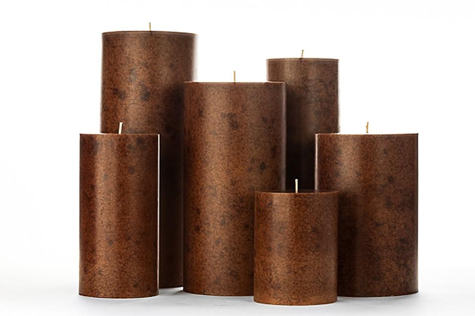 Brown Mottled Pillar Candles