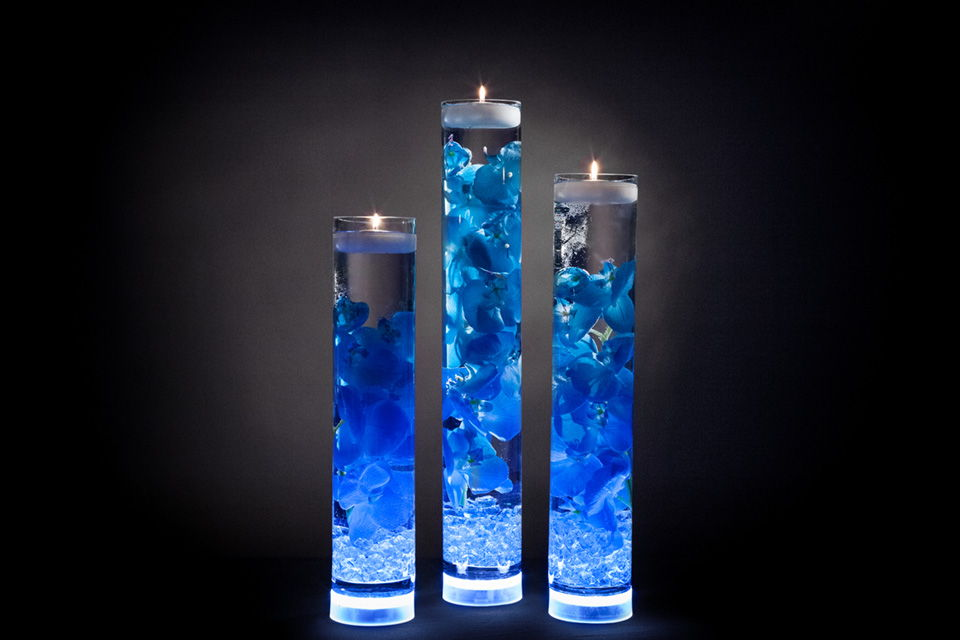 Beautiful Blue Floral Centerpieces With LED Lights And Candles