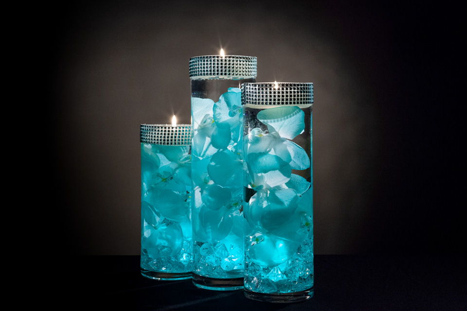 Teal Floral Centerpieces With Led Lights And Floating Candles