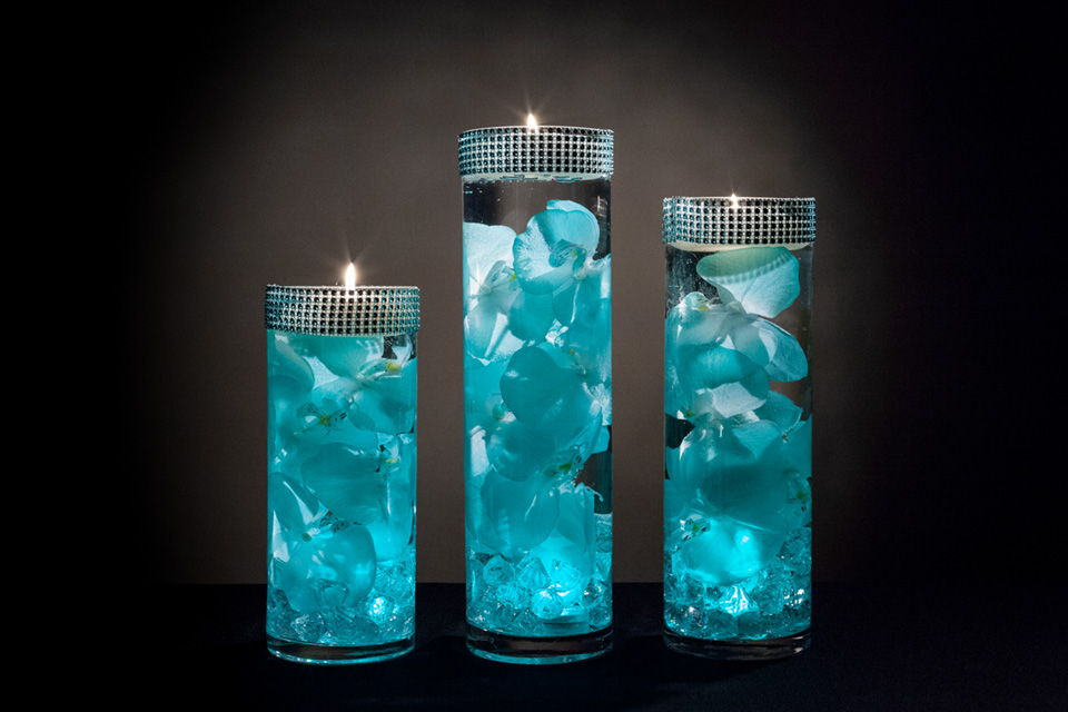 Teal Fl Centerpieces With Led Lights And Floating Candles