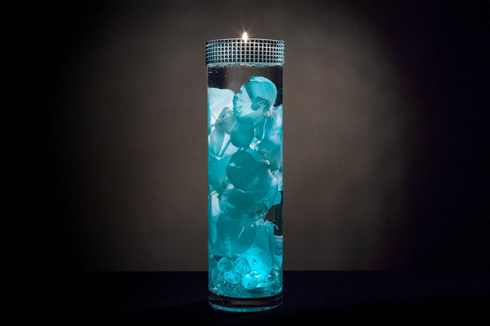 Turquoise floral centerpiece with led lights and