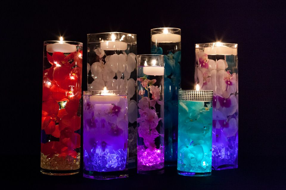 Floral centerpieces with led lights and floating candles