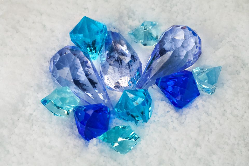 Blue Gems Decor On A Bed Of Snow