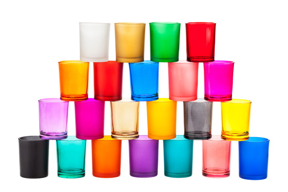 Gallery colored glass votive candle holders