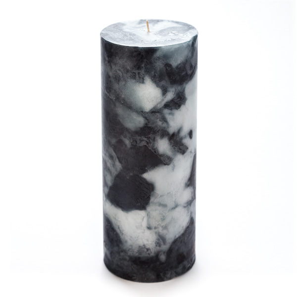 4x10 Black Marble Pillar Candle
