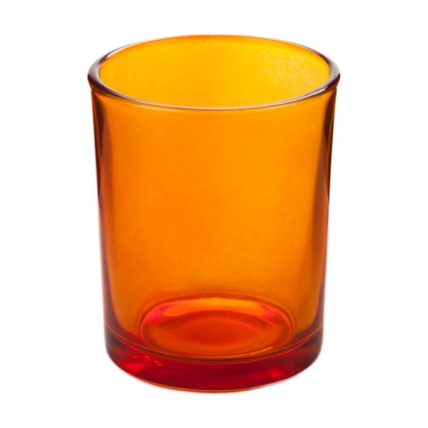 orange glass votive candle holder