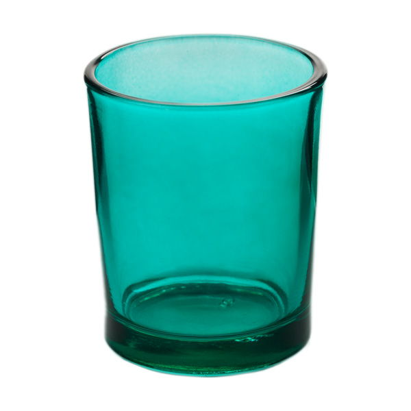 lagoon blue glass votive candle holder