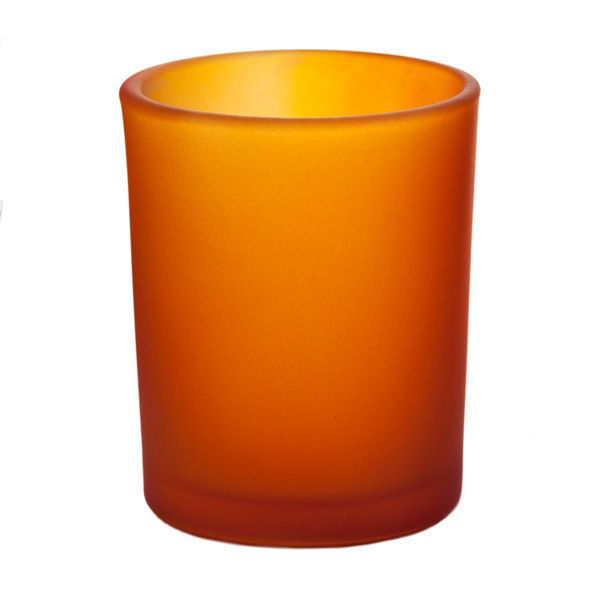 frosted orange glass votive cup