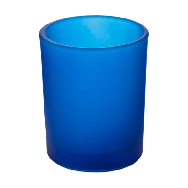 Frosted Dark Blue Glass Votive Cup