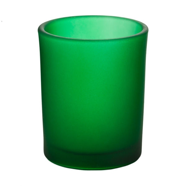 Frosted Green Glass Votive Cup