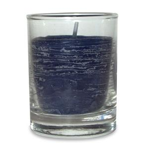 Rustic Glass Votive Candle - French Blue
