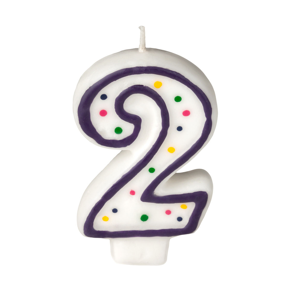 Colorful Birthday Candle - Number 2 - Polka Dot Number ...