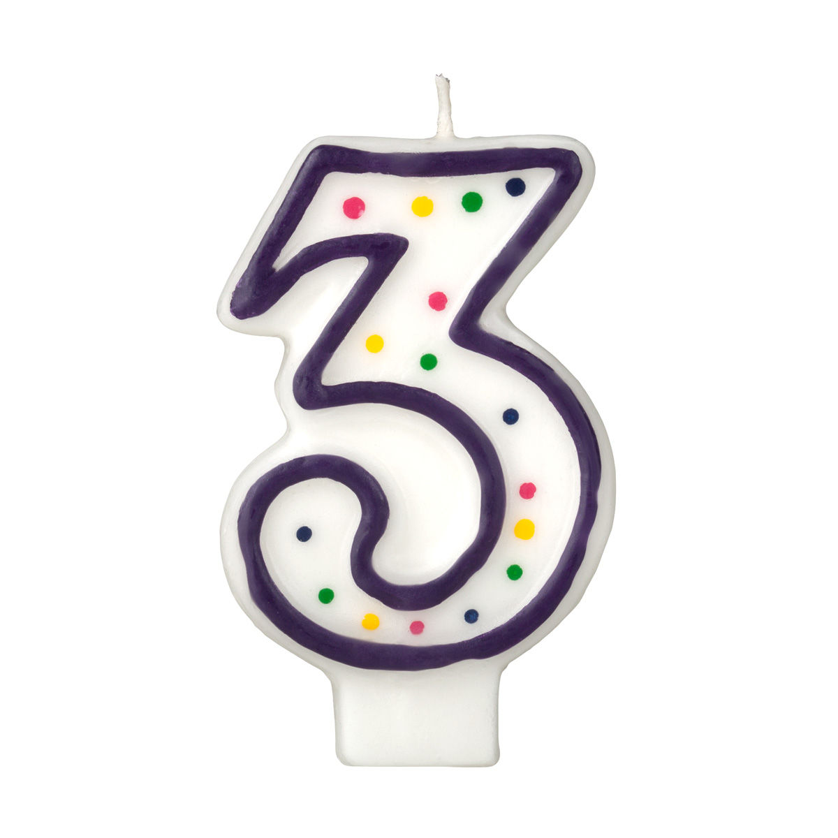 Colorful Birthday Candle Number 3 Polka Dot Number