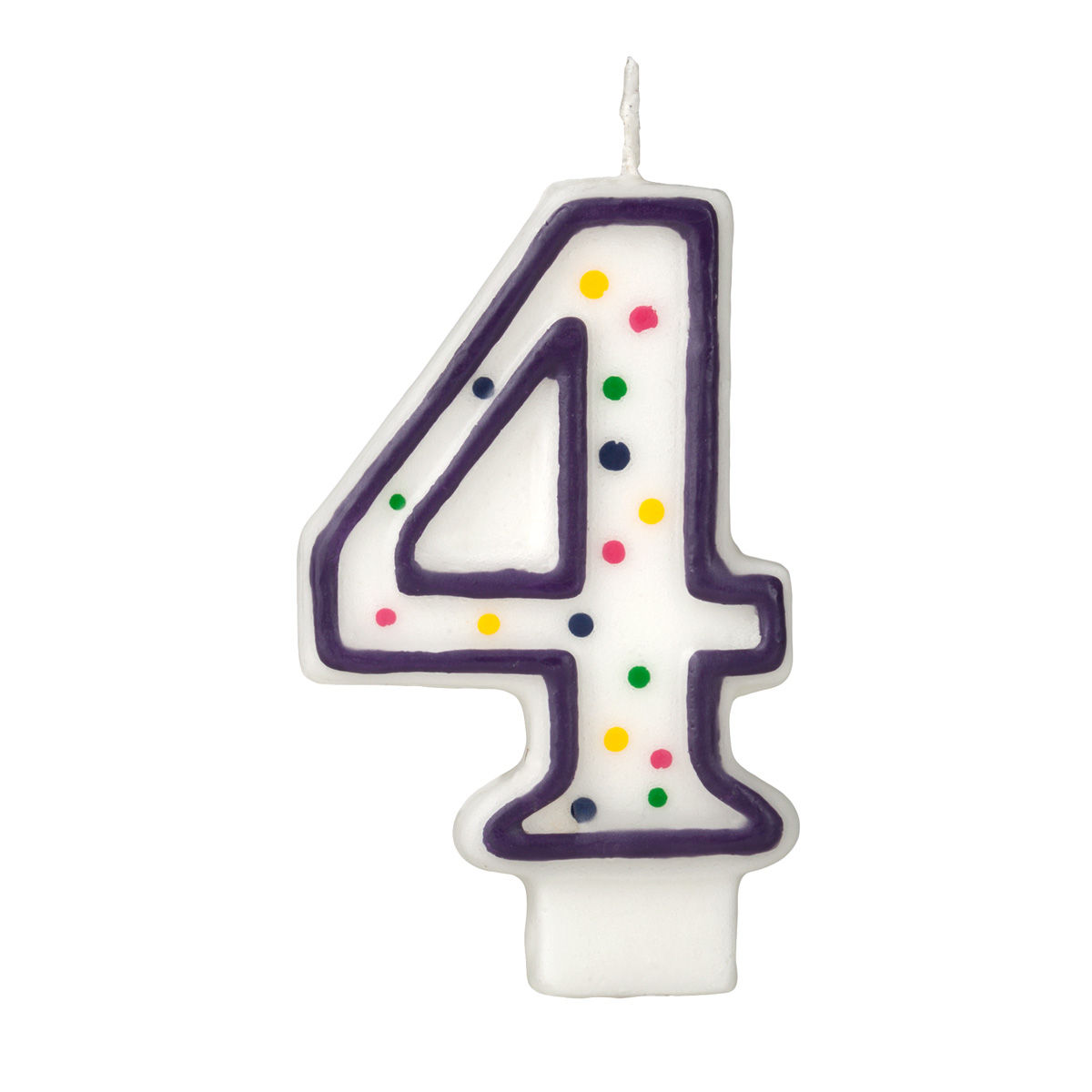Colorful Birthday Candle Number 4 Polka Dot Number Cake Toppers