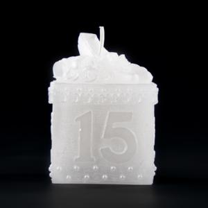 Sweet Fifteen White Keepsake Box Candle - Sweet 15 - Quinceanera