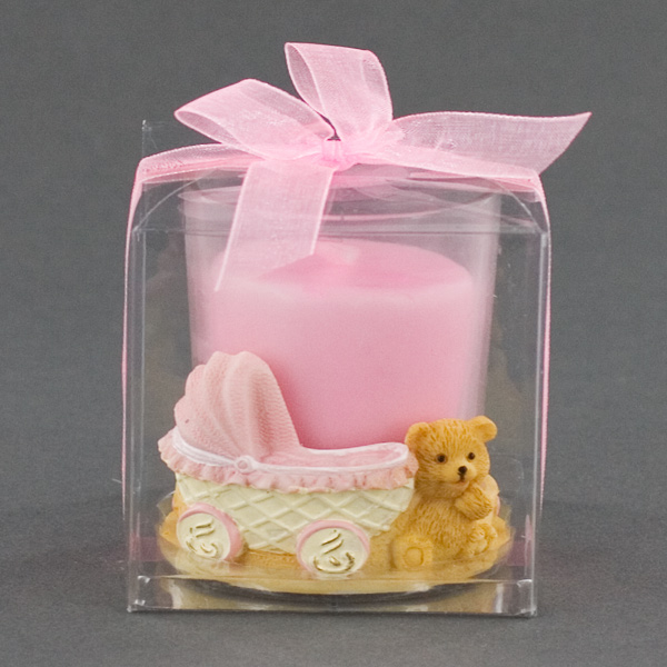 Ceramic Teddy Bear Candle Holder With Pink Baby Carriage
