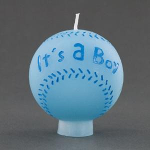 Its A Boy Blue Baseball Candle - Baby Shower Favor