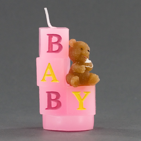 bear sitting on pink baby blocks baby shower candle favor