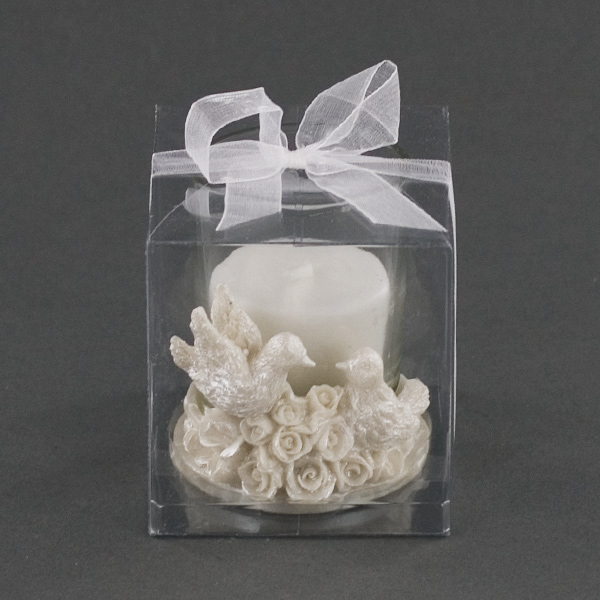Pair Of Doves Sitting On Roses Candle Holder Party Favor