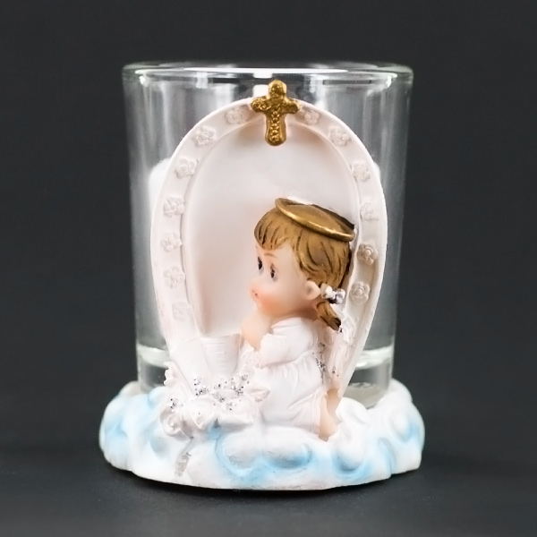 Praying Angel Girl On Clouds Candle Holder Baptism Party Favor