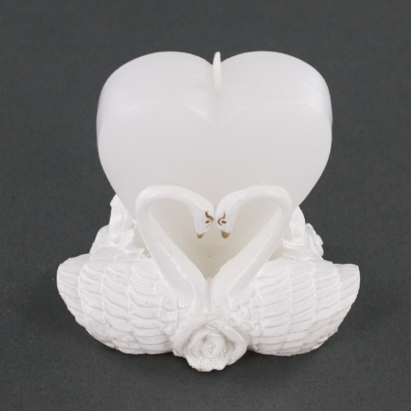 Heart Shaped Candle With Pair Of Love Swans Wedding Party Favor