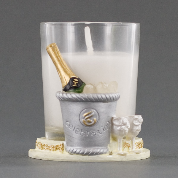 Champagne bottle in ice bucket candle holder party favor for Champagne bottle candle holders