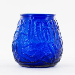 Blue Victorian Glass Candle Holder