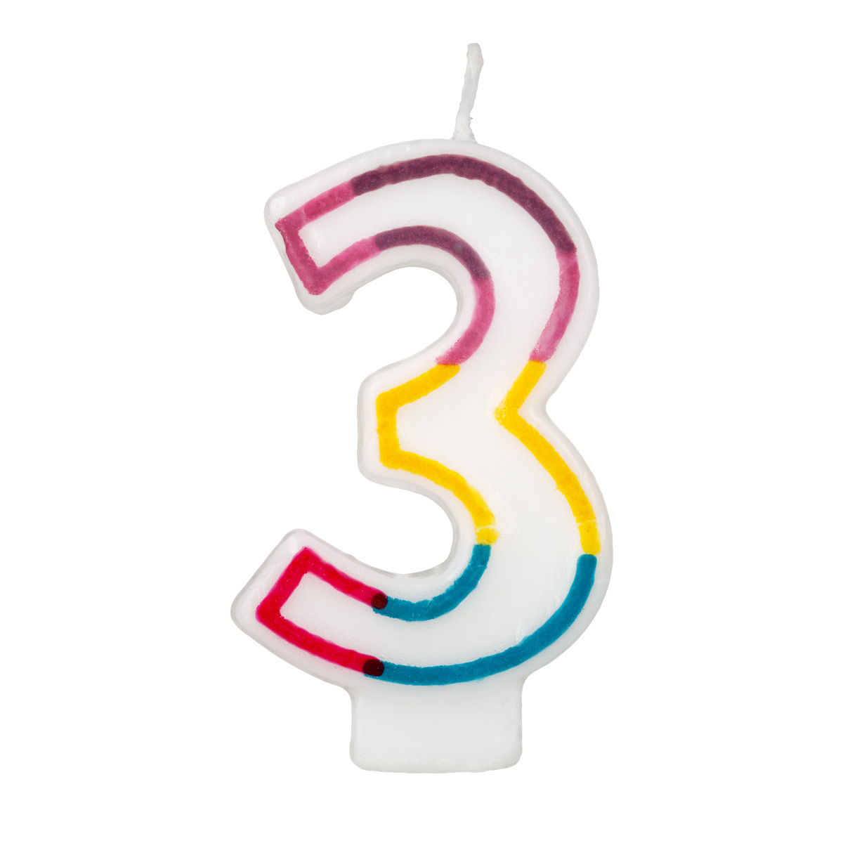 colorful birthday candle number 3 rainbow border cake