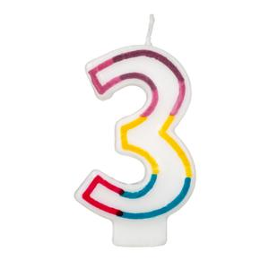 Colorful Birthday Candle - Number 3 - Rainbow Border Cake Toppers