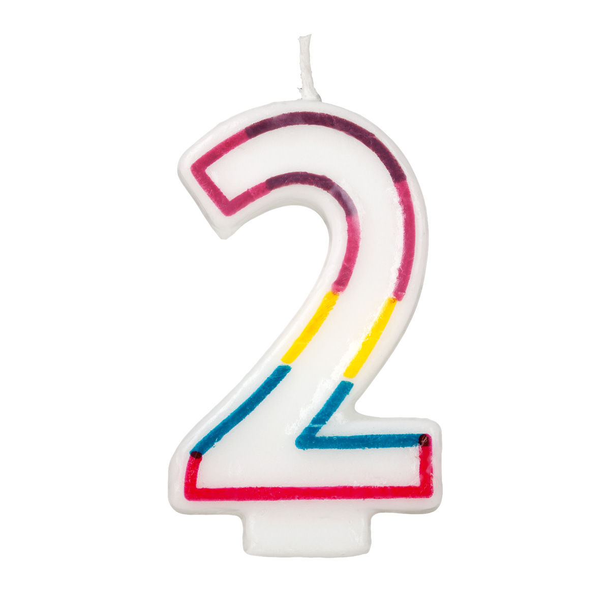 Colorful birthday candle number 2 rainbow border cake toppers