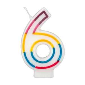 Colorful Birthday Candle Number 6 Rainbow Border Cake Toppers