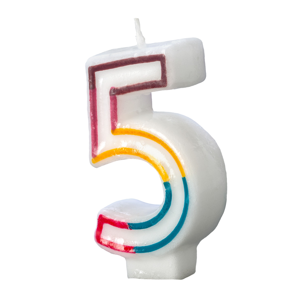 Colorful Birthday Candle Number 5 Rainbow Border Cake Toppers