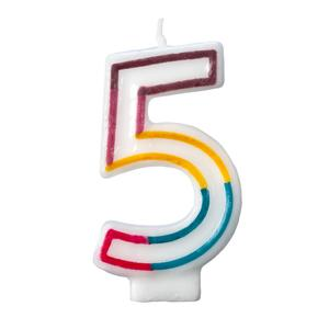 Colorful Birthday Candle Number 5 Rainbow Border Number