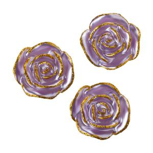 3 Piece Set Glitter Metallic Purple Floating Candle - Valentine Flower