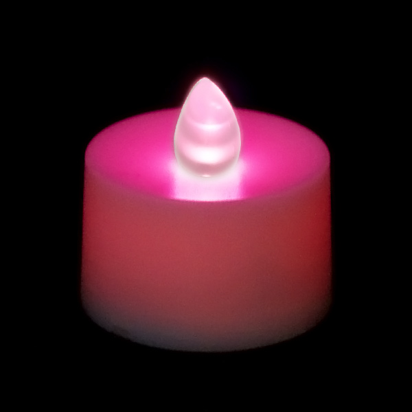 flickering battery operated tea light candle pink. Black Bedroom Furniture Sets. Home Design Ideas