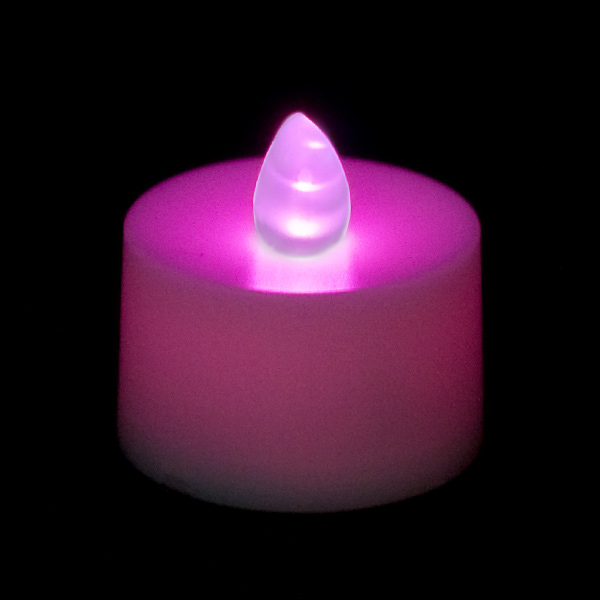 flickering battery operated tea light candle purple. Black Bedroom Furniture Sets. Home Design Ideas
