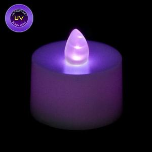 flickering battery operated tea light candle uv black light. Black Bedroom Furniture Sets. Home Design Ideas