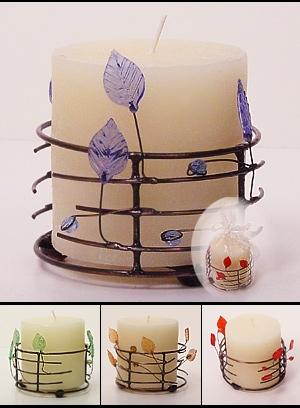 Pillar Candles On A Metal Base With Leaves