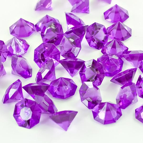 Purple Acrylic Large Flat Top Diamonds Decorative Gems